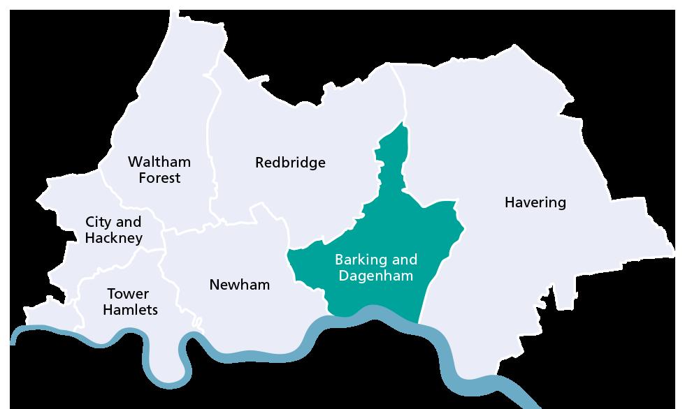 Barking and Dagenham borough map