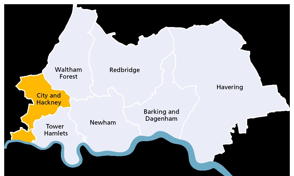 City and Hackney borough map